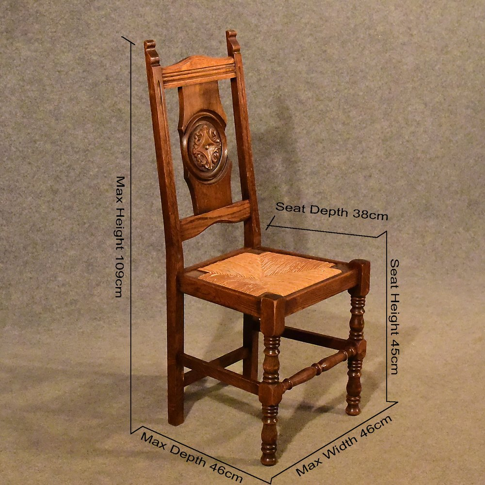 ... Antique Side Chairs ... - Antique Oak Rush Seat Country Chair Quality - Antiques Atlas