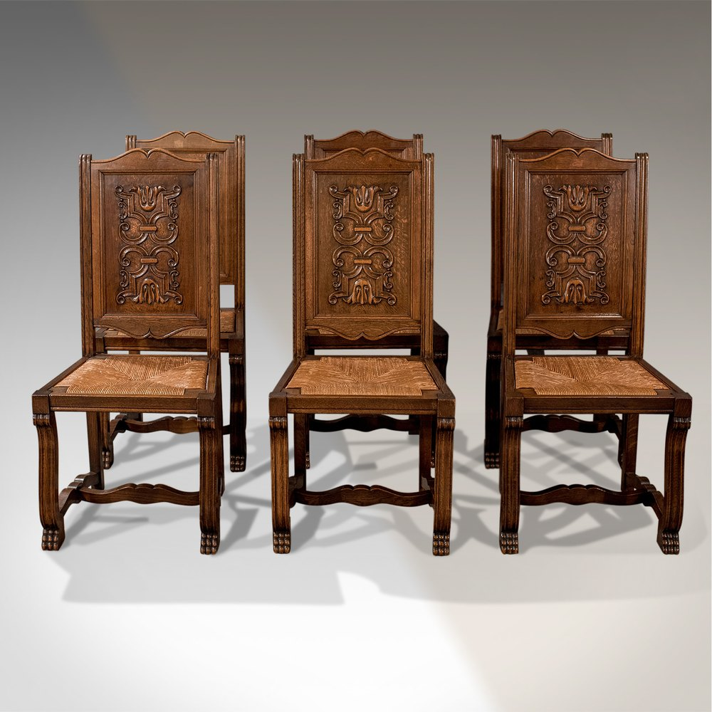 Antique Oak Chairs ~ Antique oak set of french kitchen dining chairs