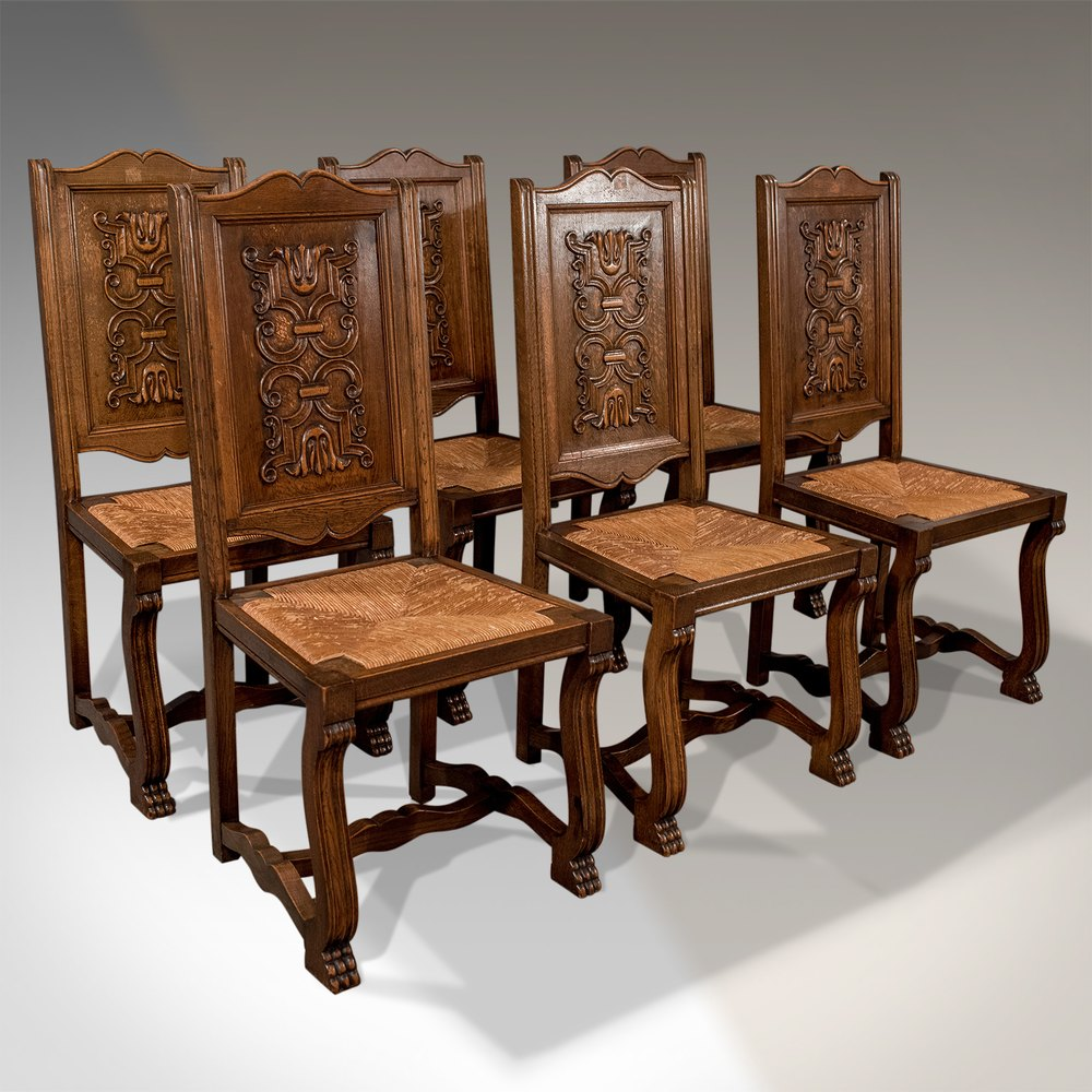 French Kitchen Chairs: Antique Oak Set Of 6 French Kitchen Dining Chairs