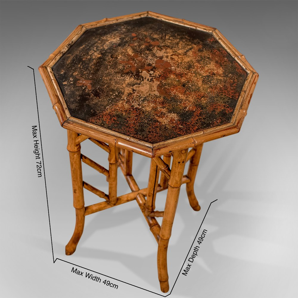 Antique Octagonal Oriental Bamboo Lamp Side Table