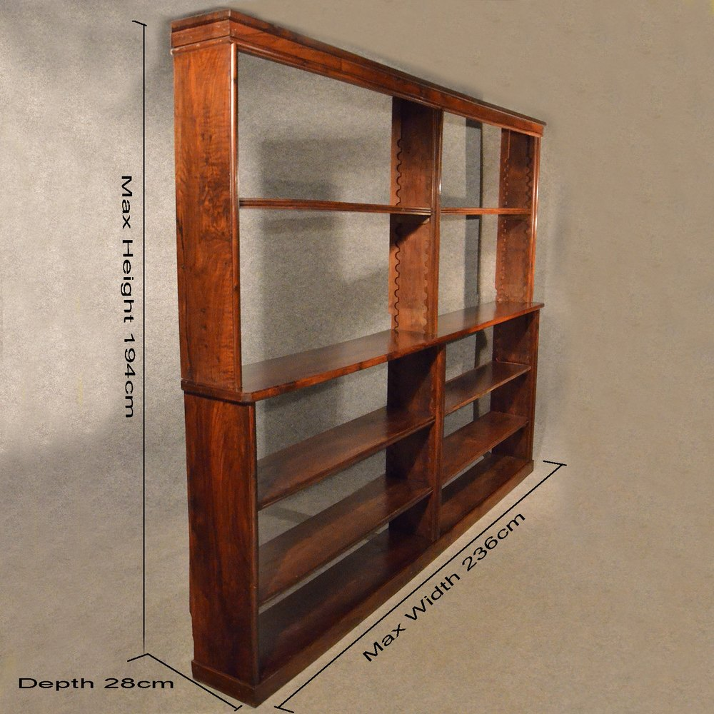 Captivating Antique Open Bookcase Display Library Shelves Antique Open Bookcases ...