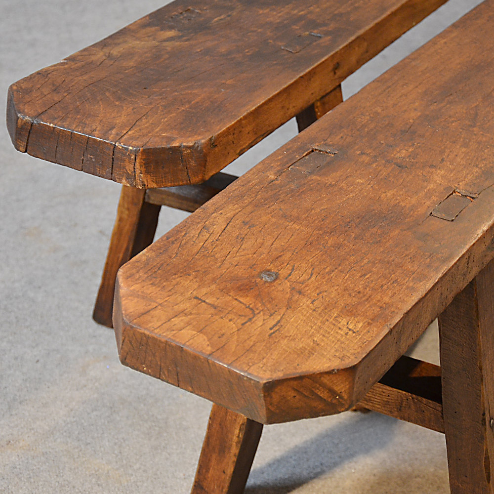 Antique Pair Benches Seat Long Elm Form Quality Antiques