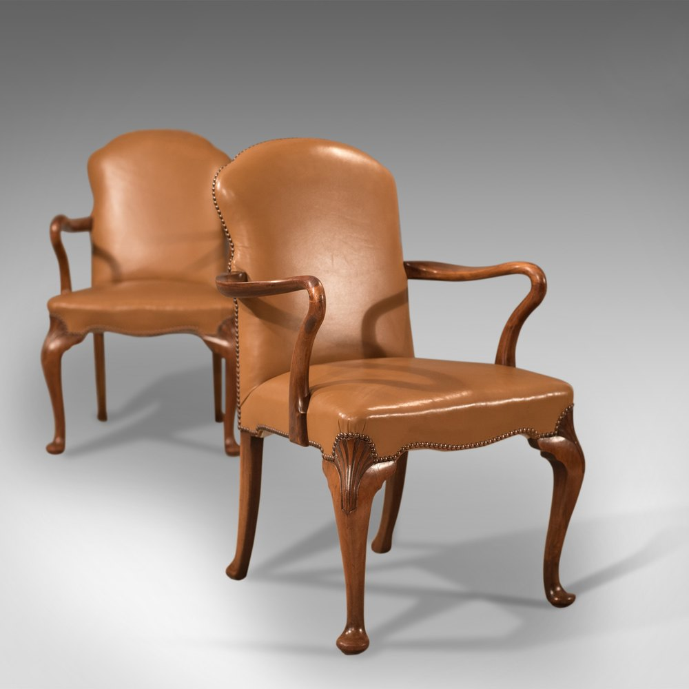 Antique Pair Of Armchairs, Edwardian Leather Chair ...