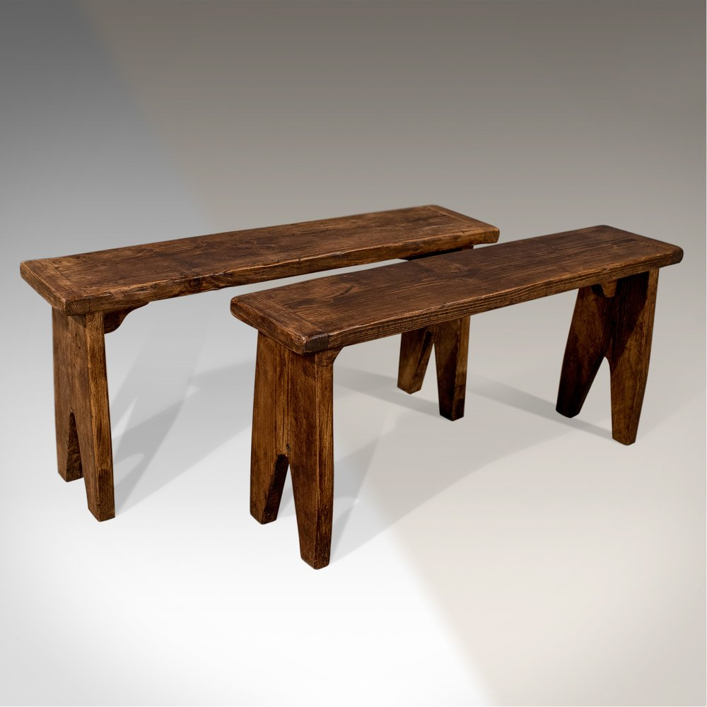 Antique Pair Of Waxed Pine Benches Pew Bench Seats Antiques Atlas