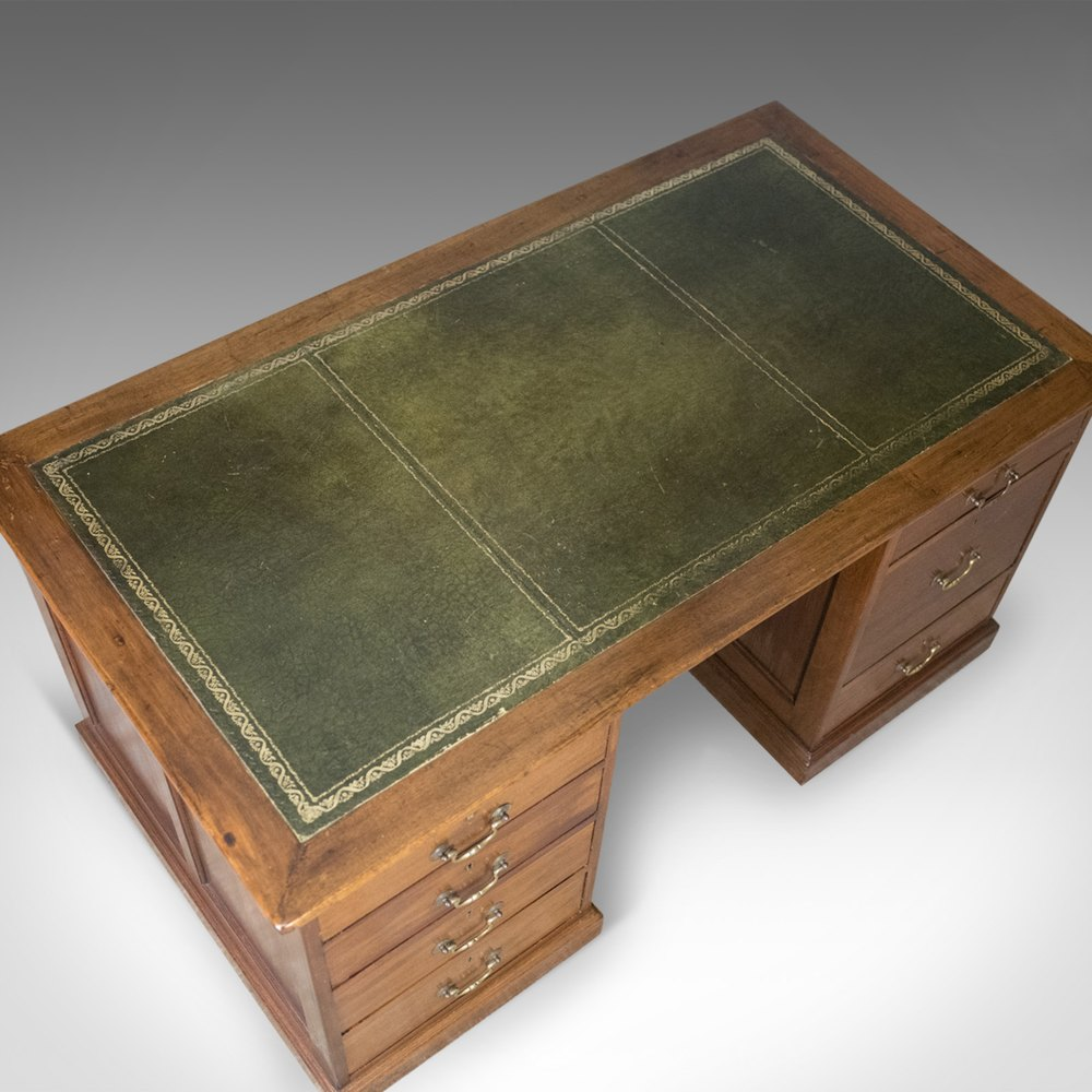 Antique Pedestal Desk Large English Mahogany