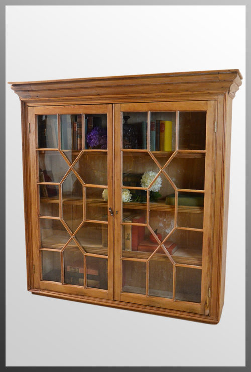 Antique Pine Bookcase Display Wall Cabinet - Antique Pine Bookcase Display Wall Cabinet - Antiques Atlas