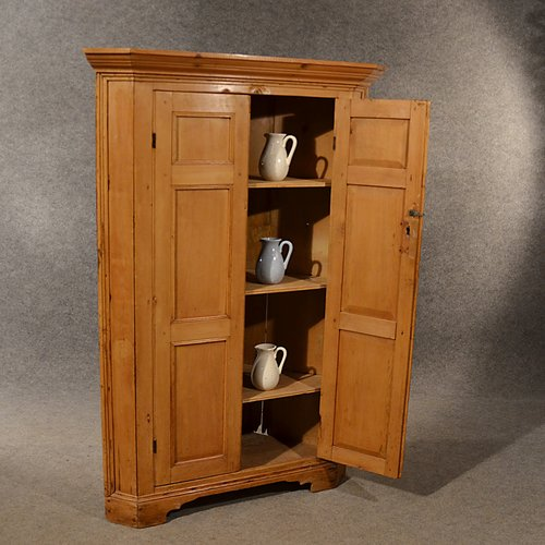 - Antique Pine Corner Cabinet Cupboard Larder - Antiques Atlas