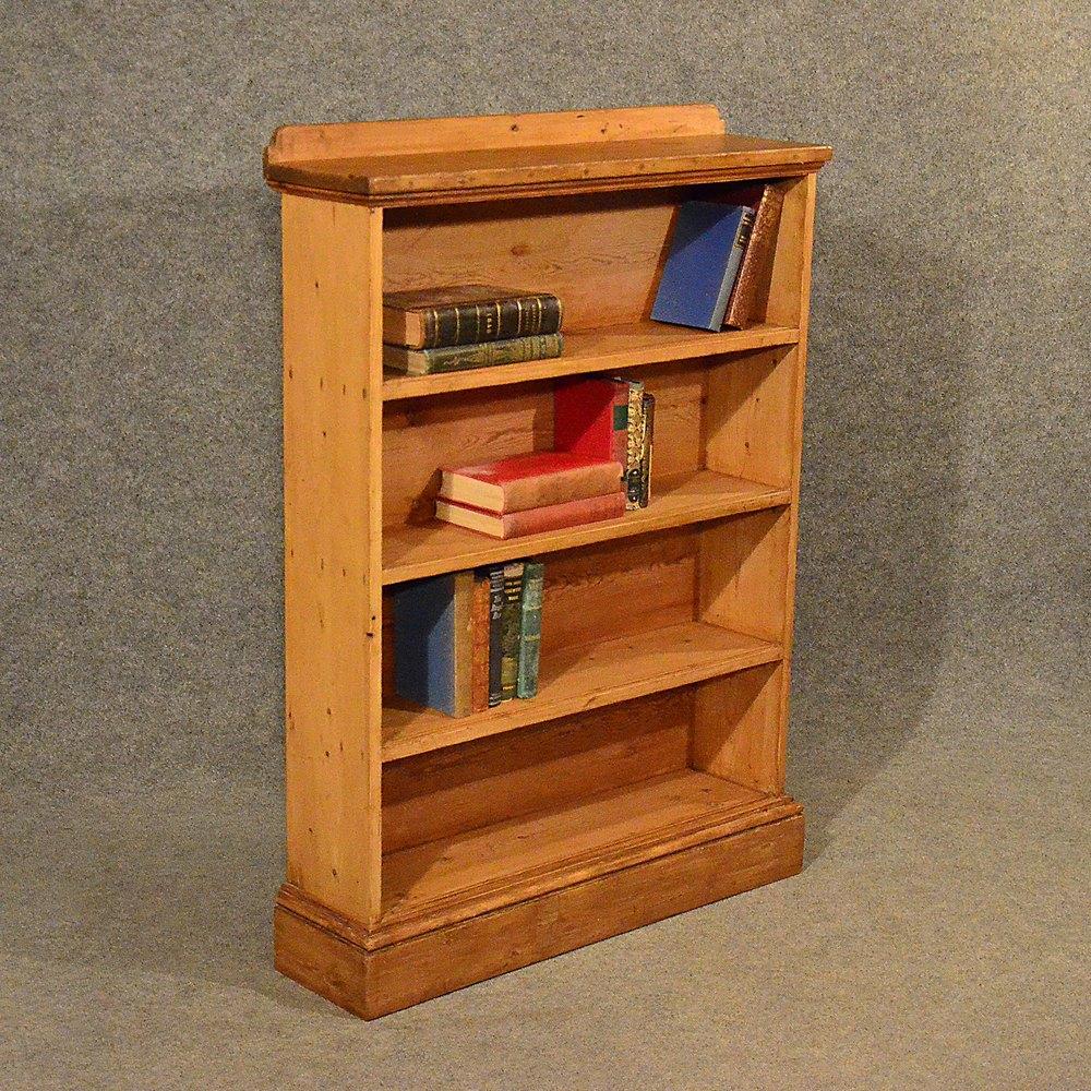 Antique Pine Open Cabinet Bookcase Shelves