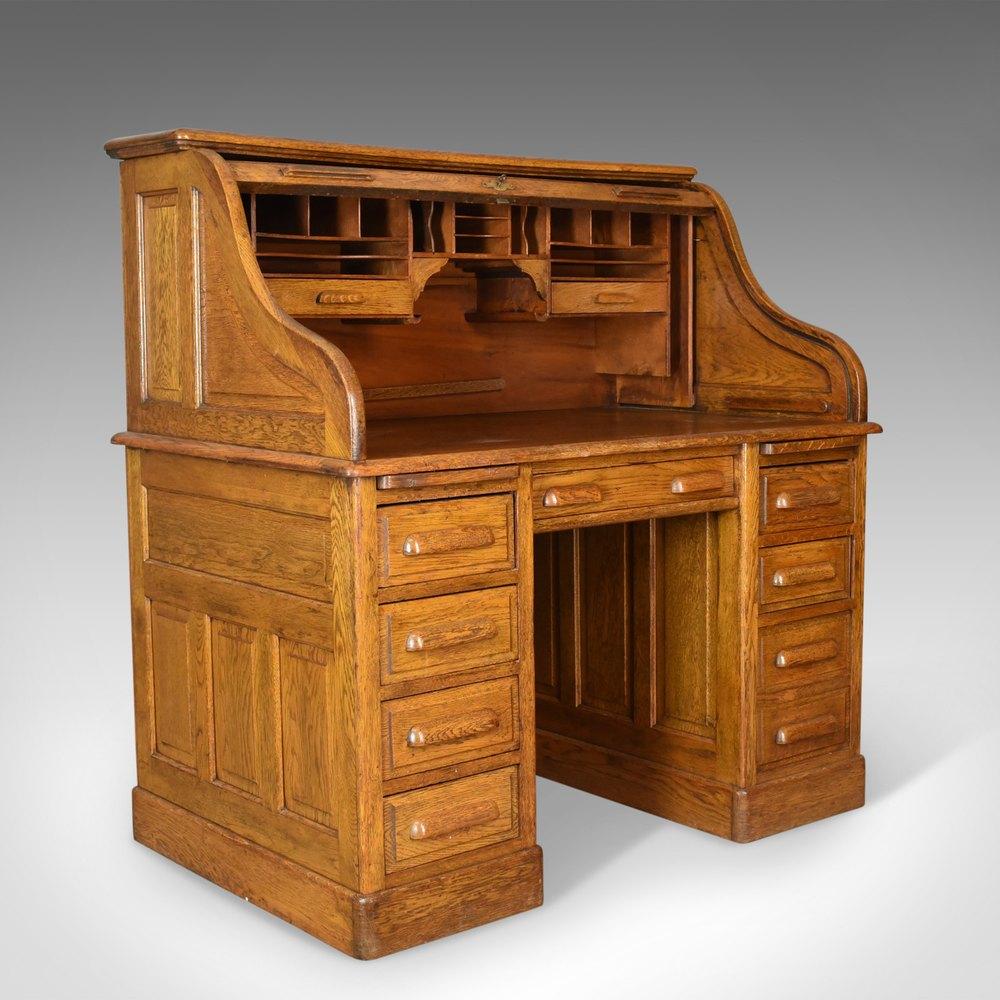 Small Oak Roll Top Desk C.1920. - Antiques Atlas  Roll Top Desk