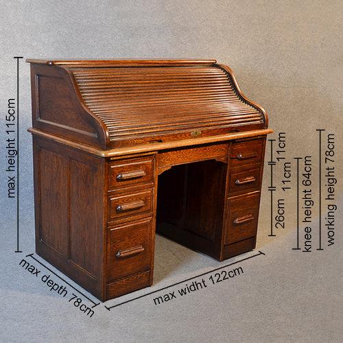 Antique Roll Top Writing Bureau Desk English Oak Antiques Atlas