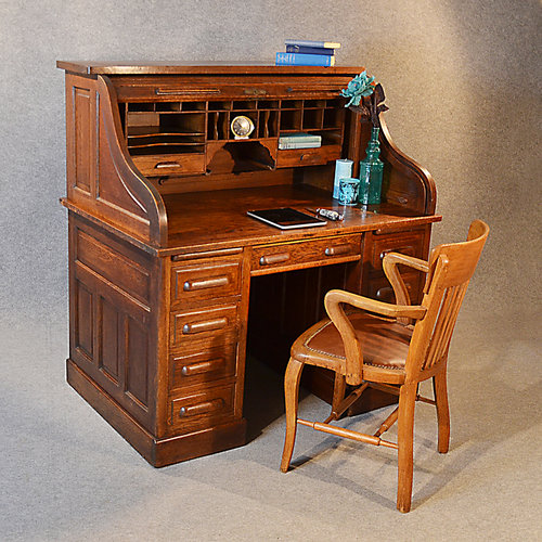 Antique Roll Top Writing Bureau Desk Oak Edwardian