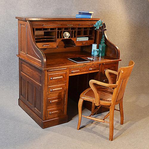 Antique Roll Top Writing Bureau Desk Oak Edwardian Antiques Atlas