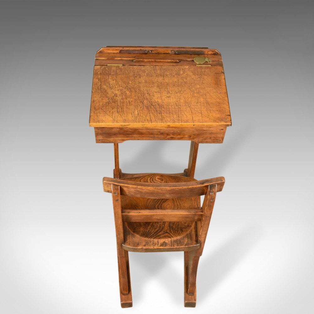 ... Antique School Desks Antique School ... - Antique School Desk, Elm, Pitch Pine, - Antiques Atlas