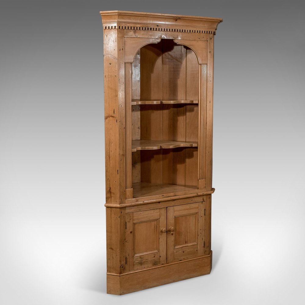 Antique Victorian Pine Tall Corner Wall Cupboard