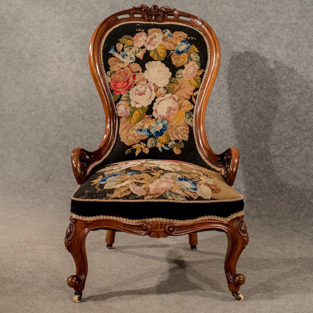 Antique Walnut Spoon Back Armchair Chair