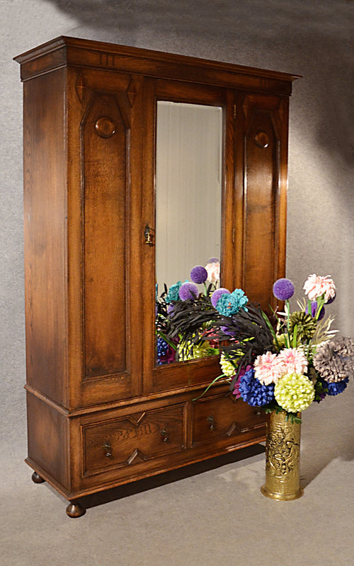 Edwardian (1901-1910) 100% Quality Antique Edwardian Wardrobe Carved Mahogany Mirror Triple Armoire Moderate Price Antiques
