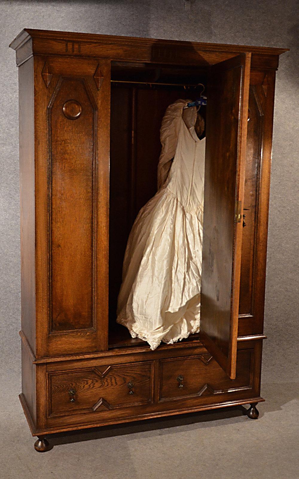 Antique Furniture Edwardian (1901-1910) Alert Edwardian Art Nouveau/style Mahogany Single Wardrobe 100% Original