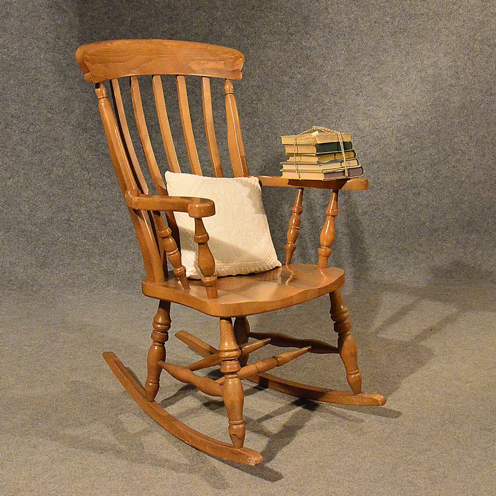 Charming Antique Windsor Rocking Chair Large Beech Easy ...