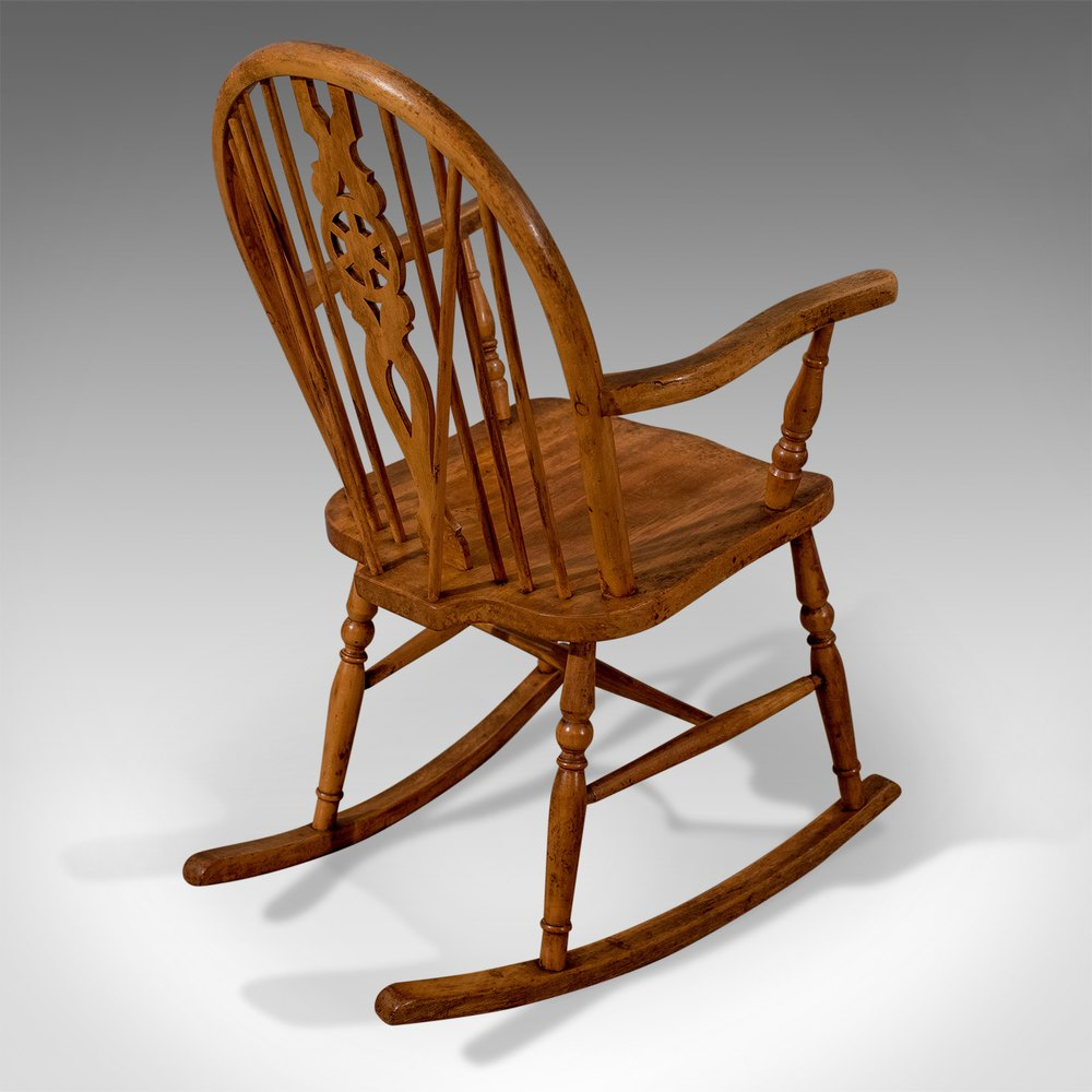 Antique Windsor Rocking Wheel Back Country Chair