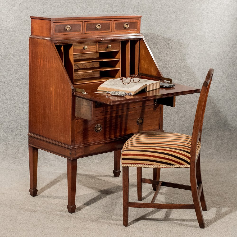 Antique Writing Desk Bureau Edwardian Mahogany ... - Antique Writing Desk Bureau Edwardian Mahogany - Antiques Atlas