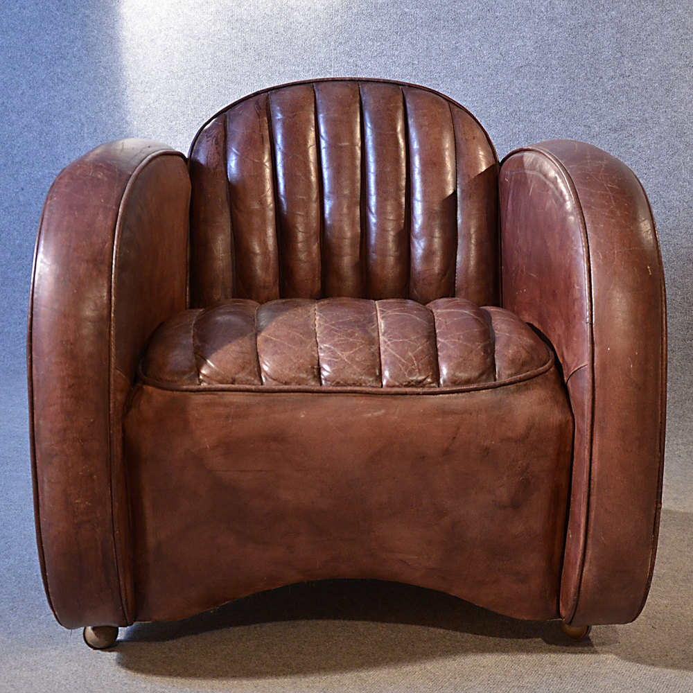 Vintage Club Chairs Art Deco Leather Armchair