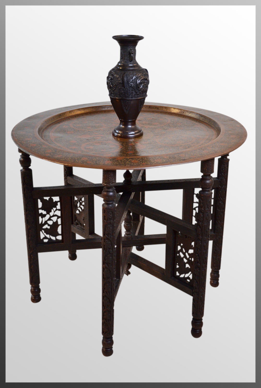The antique coffee tea table berber benares tray lamp oriental folding - Berber Benares Brass Tray Serving Lamp Table Antique Occasional Tables