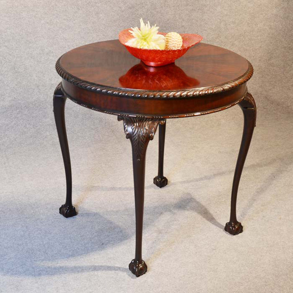 Chippendale Round Tea Side Table Mahogany English