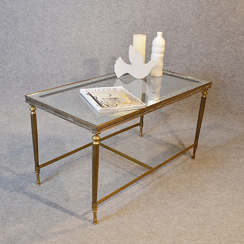 Coffee Table Art Deco Brass Glass Top ...