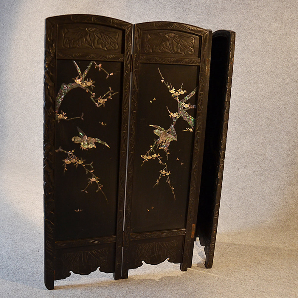 Folding Fire Screen Oriental Mother Of Pearl Inlay