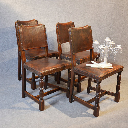 Four Oak Amp Leather Dining Chairs Cromwellian Antiques Atlas