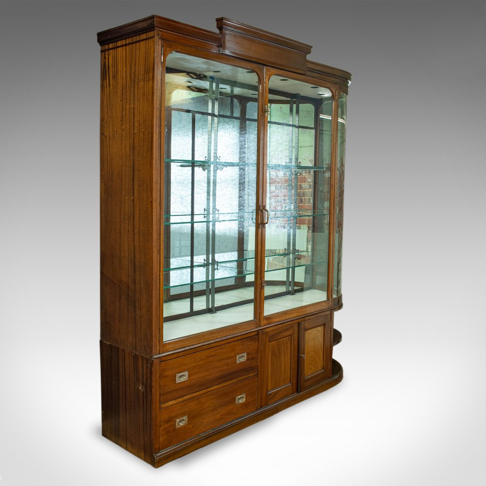 Large Antique Display Cabinet, Mahogany, Glass