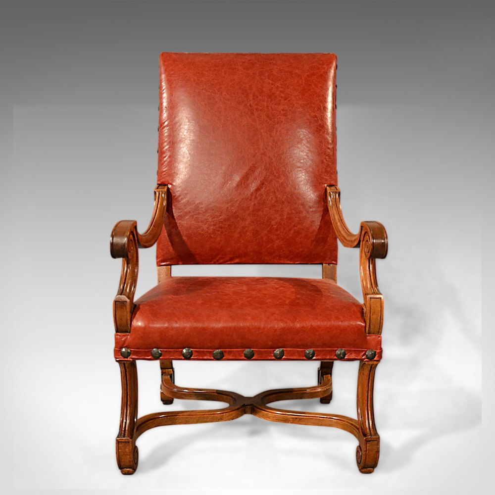 Large Antique Leather Armchair, Walnut Frame, French ...