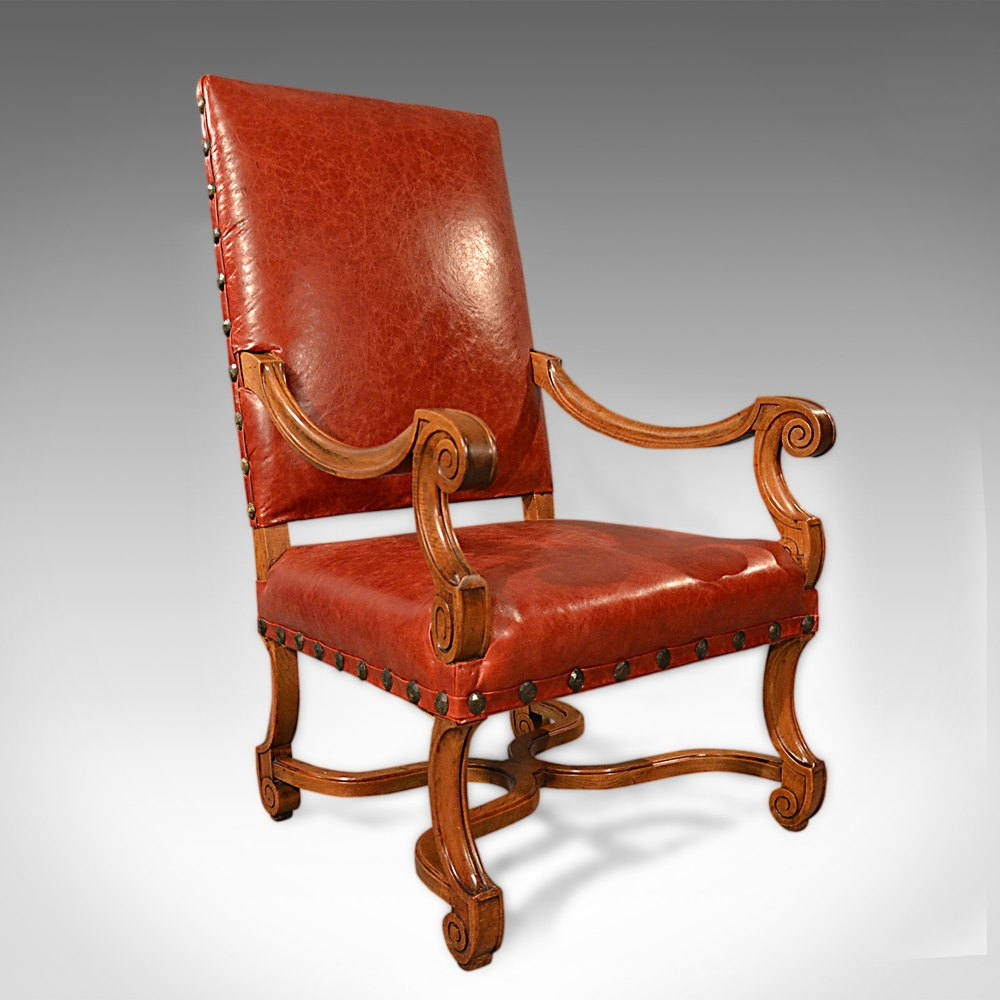 Large antique leather armchair walnut frame french