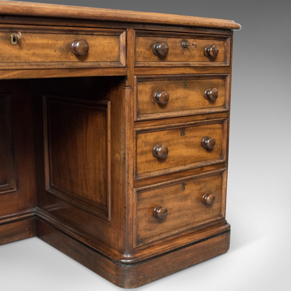 ... Desks Large Antique Pedestal %%alt5%% %%alt6%% - Large Antique Pedestal Desk, English, Mahogany, - Antiques Atlas
