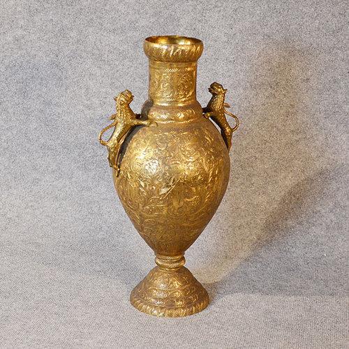 Antiques Atlas Large Brass Vase Engraved Urn Asian Oriental