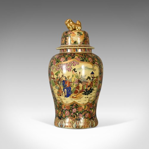 Antiques Atlas Large Japanese Baluster Vase Hand Painted Ceramic