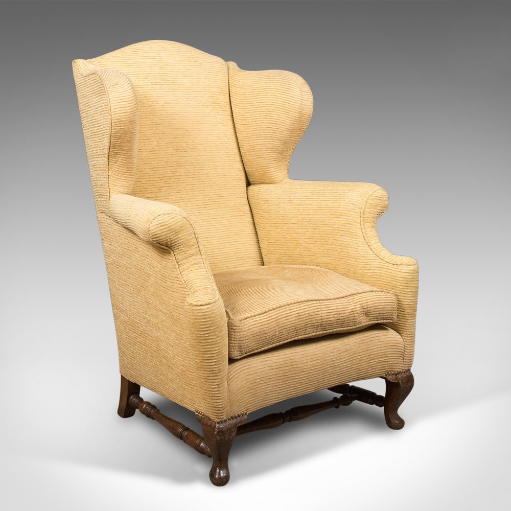 Late Victorian Antique Wing Back Armchair C 1900