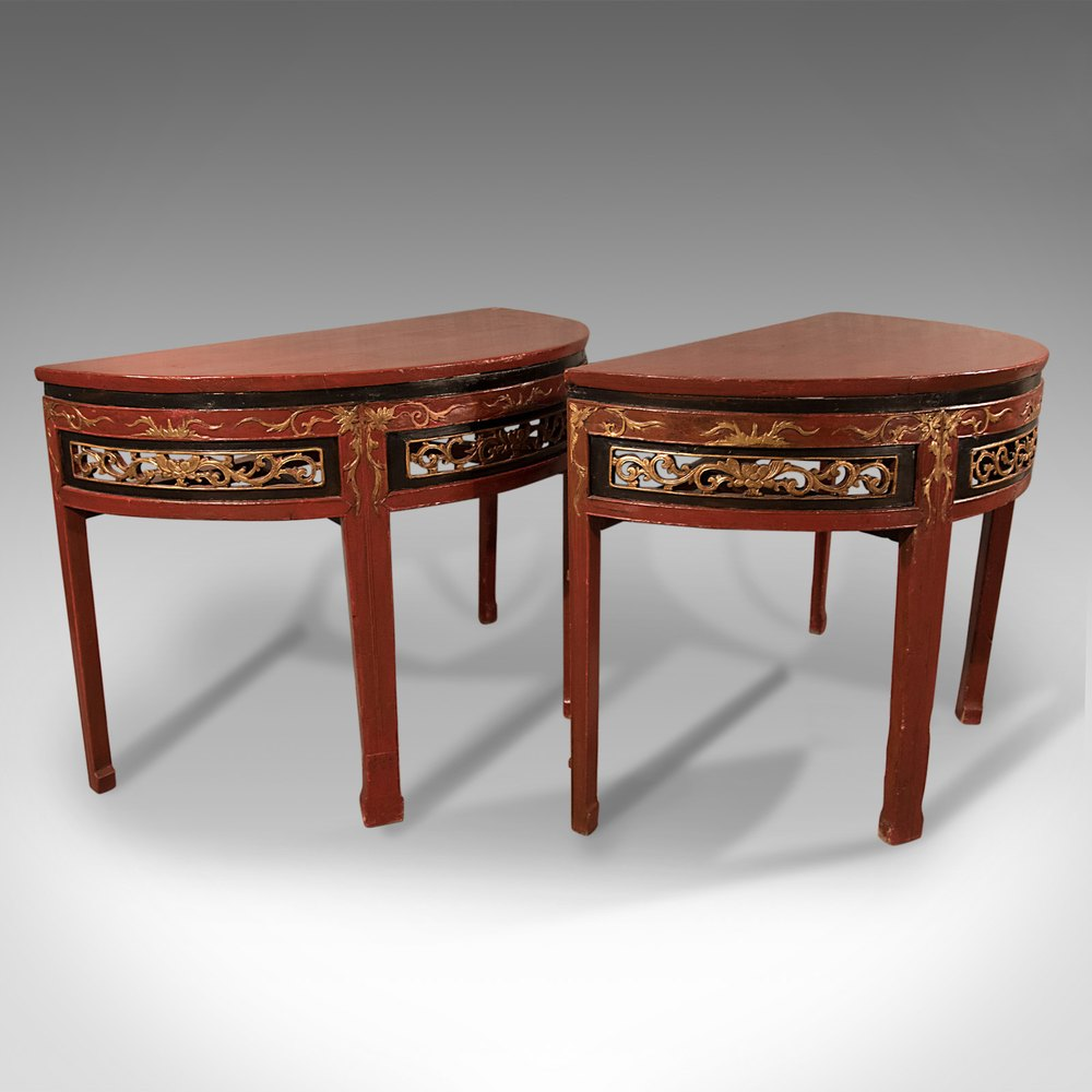 Pair Of Antique Chinese Demi Lune Tables