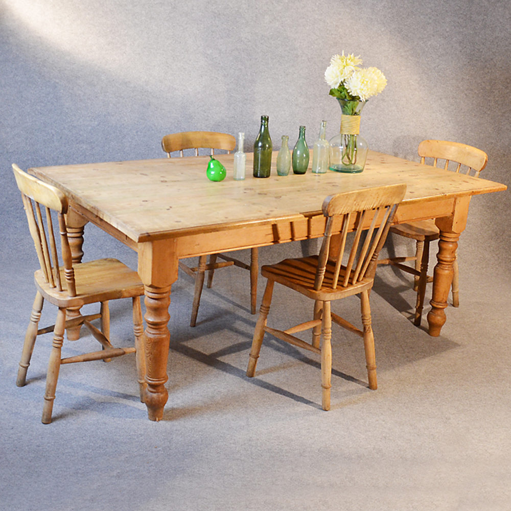 Pine Kitchen Dining Table With Drawer Seats 6 - 8 - Antiques ...