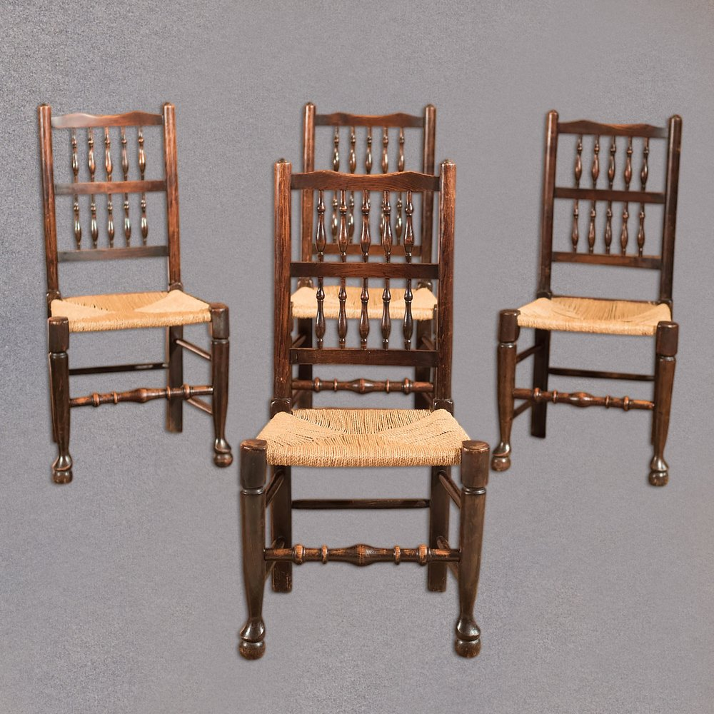 Set of 4 Victorian Spindle Back Chairs, Oak c.1900 ... - - Antique Chairs 1900 Antique Furniture