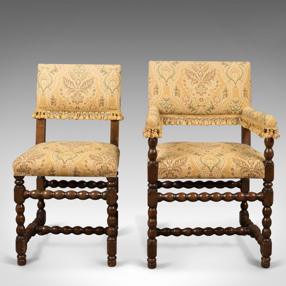 Antique Dining Chairs ~ Set of antique dining chairs edwardian jacobean