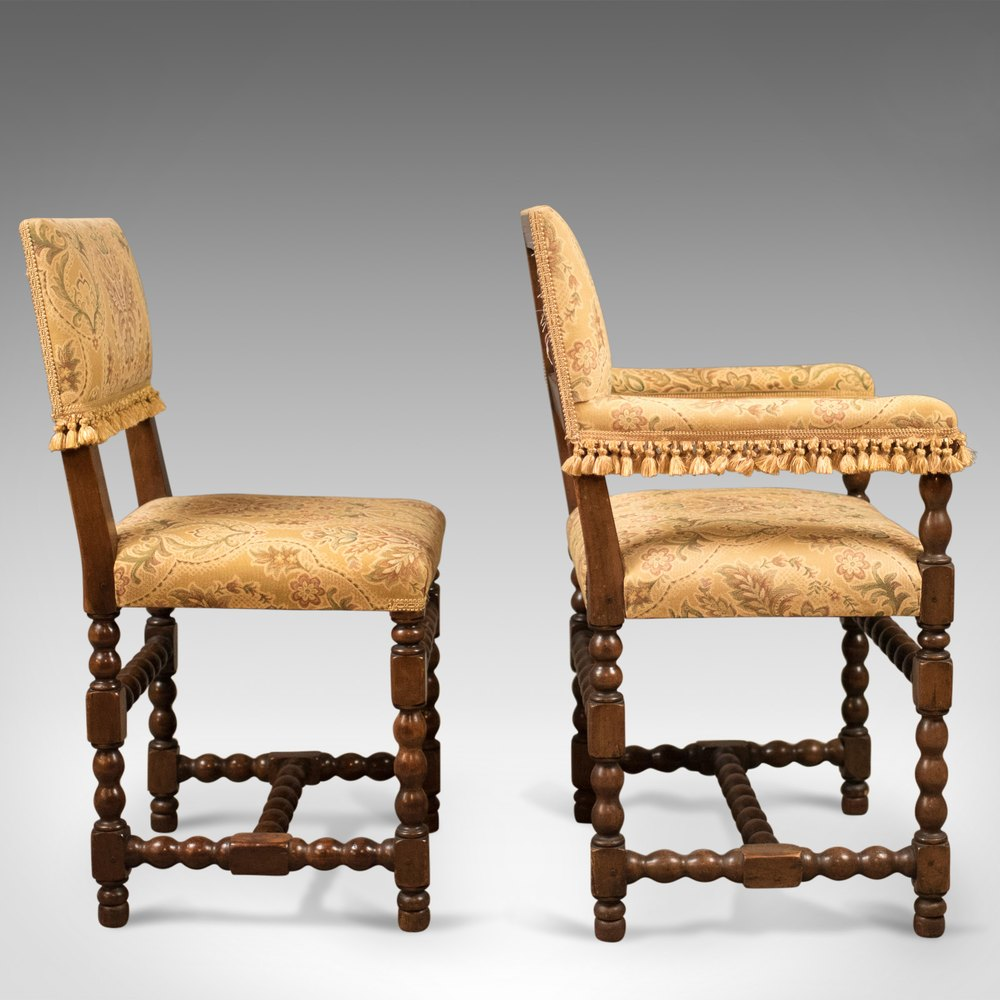 Set of 6 antique dining chairs edwardian jacobean for Set of 6 dining chairs
