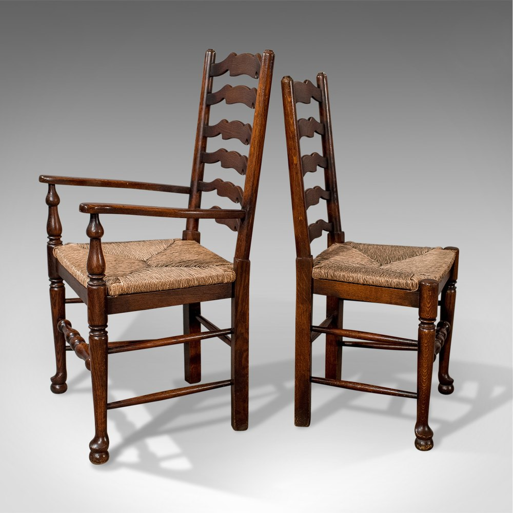Antique Oak Chairs ~ Set of six antique oak wavy line dining chairs antiques