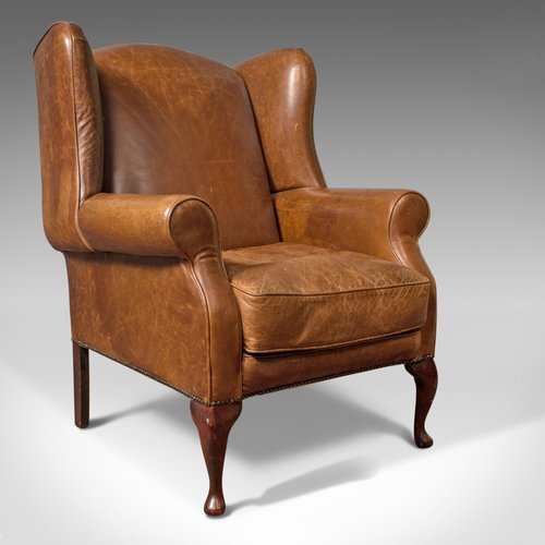 Antiques Atlas Vintage Leather Armchair English Wingback Chair