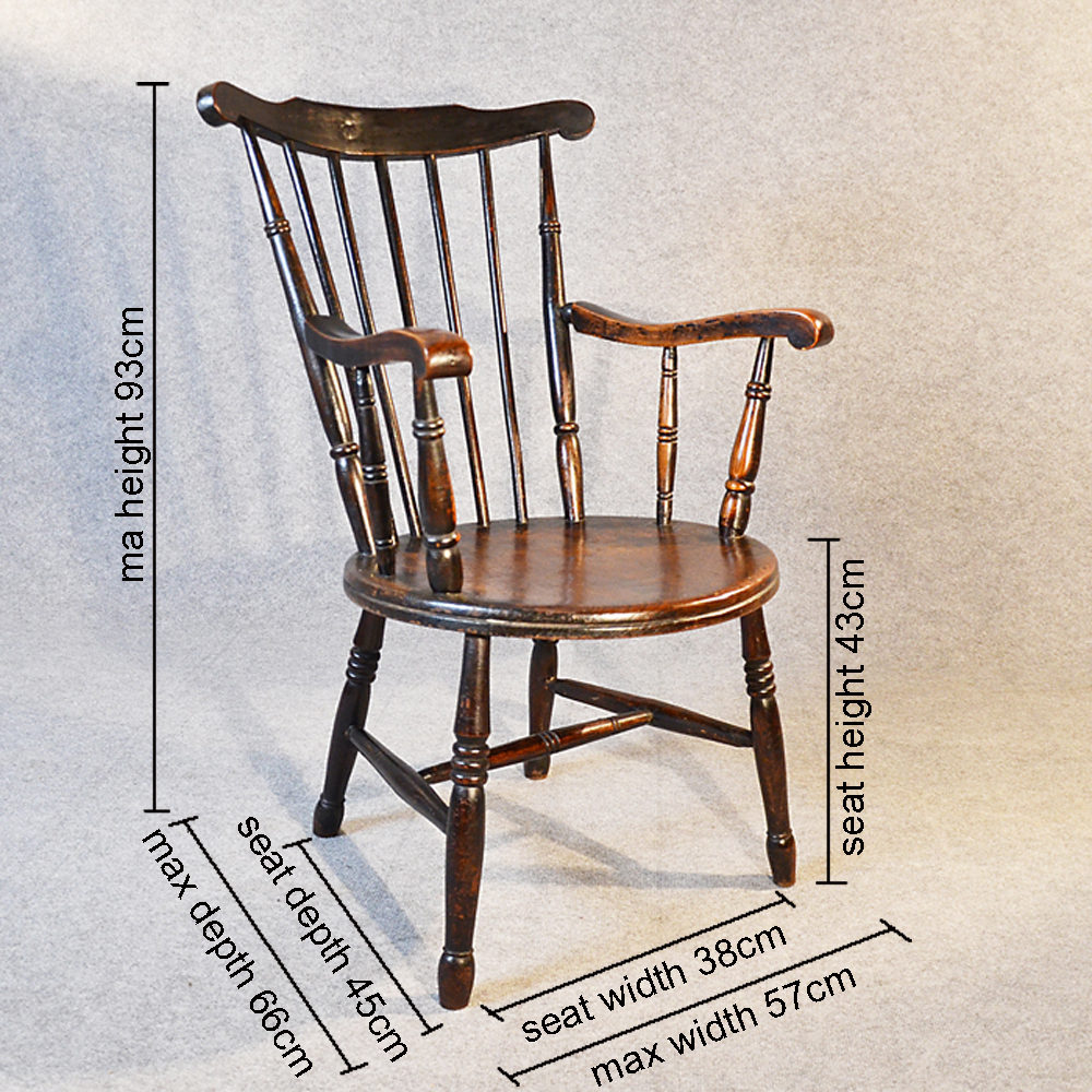 Windsor Carver Reading Chair Country Kitchen Antique Windsor Chairs ... - Windsor Carver Reading Chair Country Kitchen - Antiques Atlas