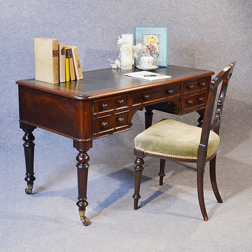 Writing Desk Leather Library Study Table Antique ... - Writing Desk Leather Library Study Table - Antiques Atlas