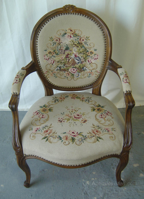 A French Louis XV Style Tapestry Chair (3) ...