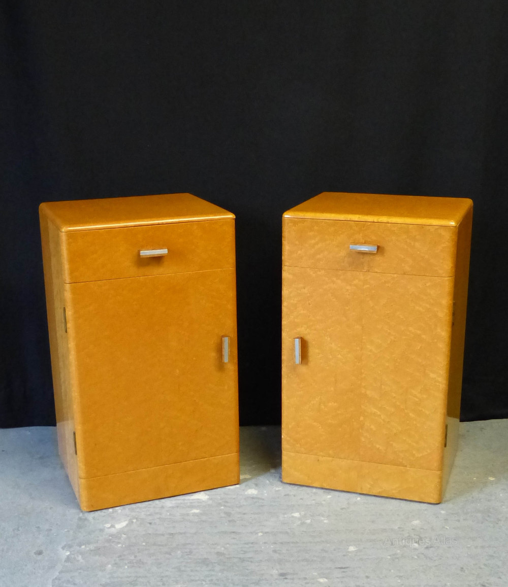 A Pair Of Birds Eye Maple Bedside Cabinets