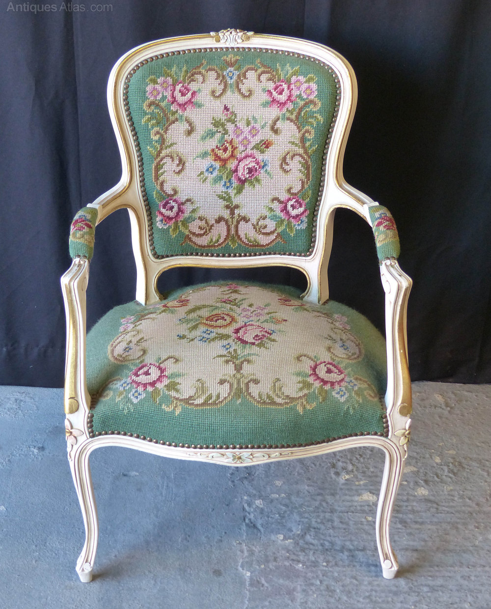 French Needlepoint Chair Antique Armchairs ...