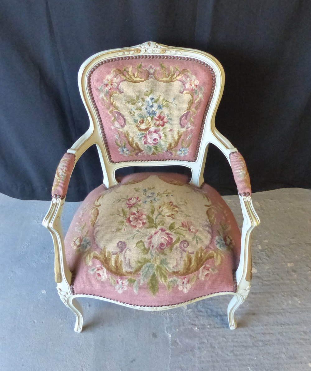 French Pink Needlepoint Chair Antique Armchairs French Chair ...
